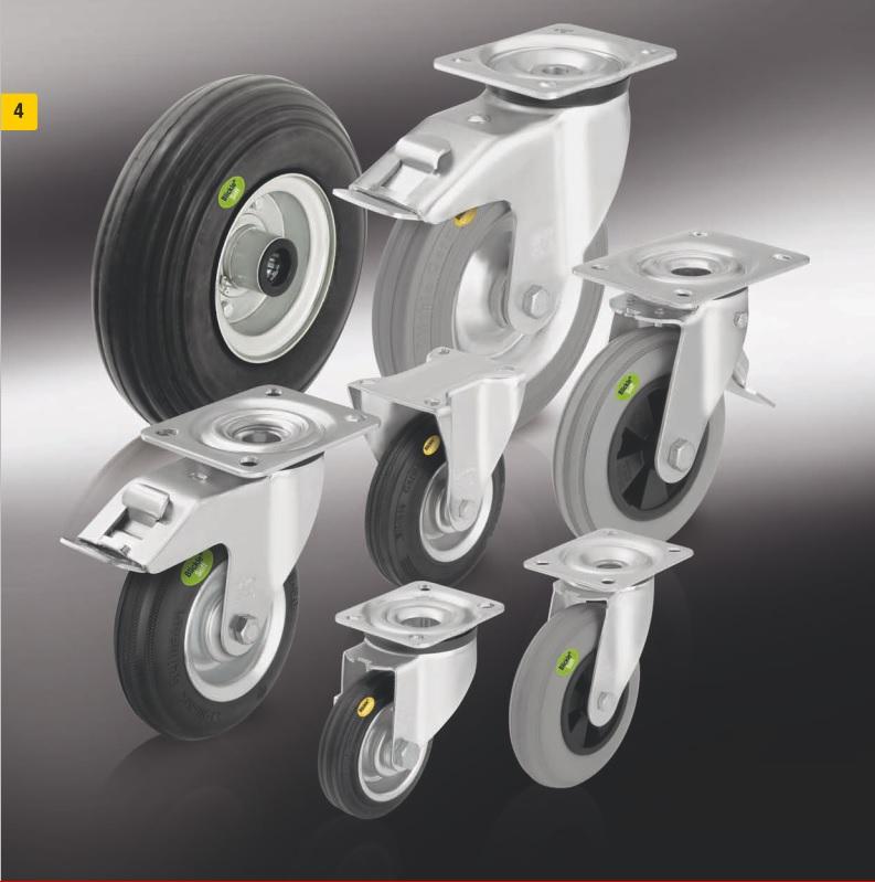 Колеса и ролики с цельнолитой шиной из мягкой резины и двух компонентной цельнолитой резиновой шиной