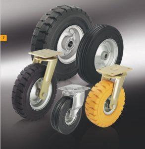 Большегрузные колеса и ролики с супреэластичной цельнолитой резиновой шиной