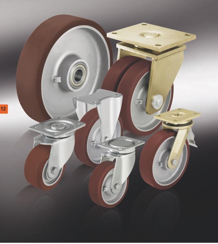Большегрузные колеса с полиуретановым контактным слоем Blickle Besthane®, с основанием колеса из стали или чугуна