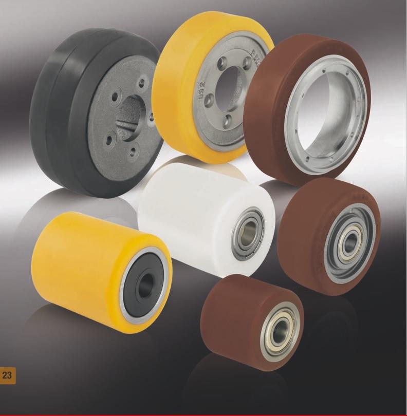 Колеса и ролики для гидравлических тележек, погрузчиков и другого подъемно-транспортного оборудования