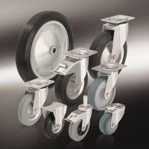 Колеса и ролики с резиновой стандартной цельнолитой резиновой шиной и резиновым контактным слоем