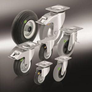(4) Колеса и ролики с цельнолитой шиной из мягкой резины и двухкомпонентной цельнолитой резиновой шиной