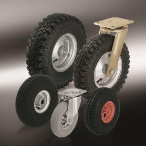 (6) Колеса и ролики с пневматической шиной (7) Большегрузные колеса и ролики с эластичной цельнолитой резиновой шиной