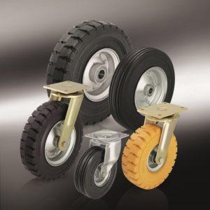 (7) Большегрузные колеса и ролики с эластичной цельнолитой резиновой шиной
