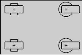 два поворотных и два фиксированных ролика