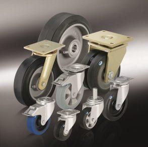 Универсальная серия РОЕV колес с эластичной цельнолитой резиновой шиной.
